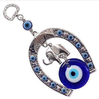 HorseShoe Elephant Turkish Blue Evil Eye (Nazar) Amulet Car Charm Wall Hanging - Blue Horseshoe