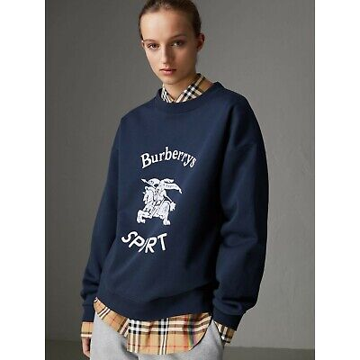 Burberry Reissued Jersey Sweatshirt Navy Blue Small