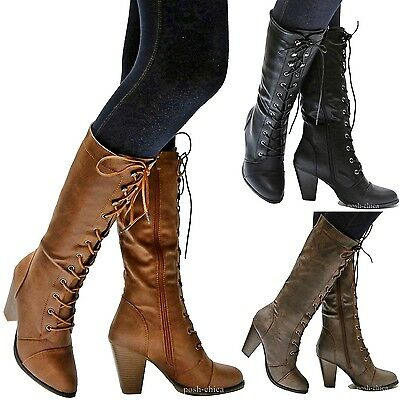 Riding Heel - New Women FCa36 Black Tan Brown Combat Lace Up Riding Mid-Calf High Heel Boots