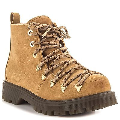 Circus by Sam Edelman Kane Camel Brown Lace Up Combat Suede Ankle Boots (Circus By Sam Edelman Lace Up Boot)
