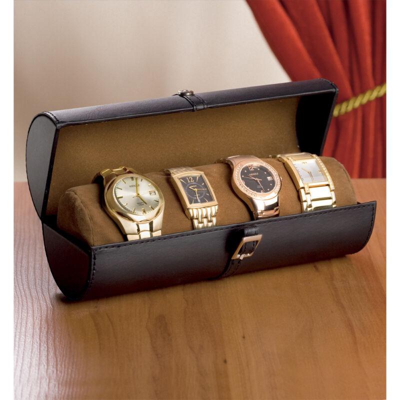 Uhrenbox Aufbewahrungsbox für 6 Uhren Schatulle Schmuckkasten Kunstleder schwarz