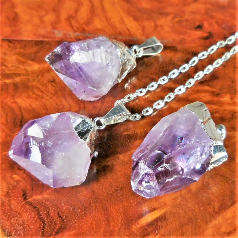 Bulk Wholesale Lot Of 5 Pieces - Amethyst Point Raw Crystal Silver - Pendant