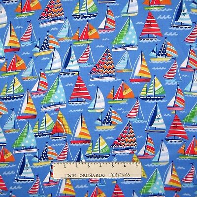 Nautical Fabric - Clear Sailing Sailboats Blue - Santee YARD