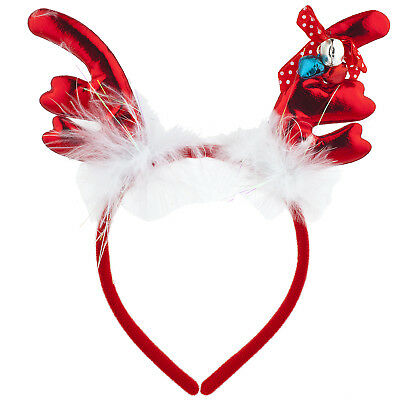 Lux Accessories Red Reindeer Ears Christmas Holiday Ugly Sweater Party - Ugly Christmas Sweater Accessories