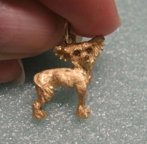 14 kt. 3D GOLD CHINESE CRESTED DOG CHARM / PENDANT- MECHE- NEW RETAILS $1,463!