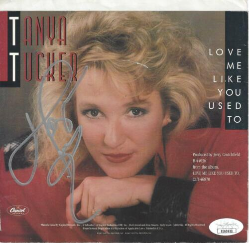 """TANYA TUCKER Signed Autograph Pic Sleeve W/ 45  """"Love Me Like You Used To"""" JSA"""