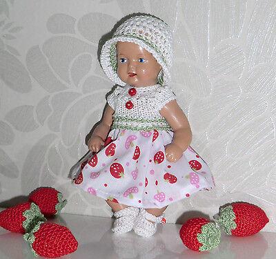 3-tlg Set  Outfit Erdbeeren Kleid Mütze SK Strampelchen  Baby  Puppen 16 - 17 cm