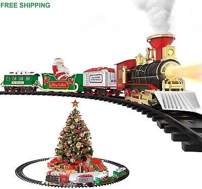 Christmas Holiday Classic Steam Train Set Safe Under Engine Lights Sounds Smoke