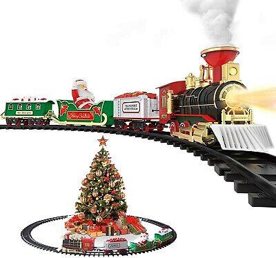 Hot Bee Christmas Toy Train Set Electric Steam Train w/Smoke, Lights & Sound NOB