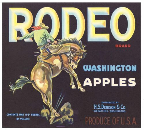 RODEO Vintage Wenatchee Apple Crate Label, Western, Cowboy, *AN ORIGINAL LABEL*