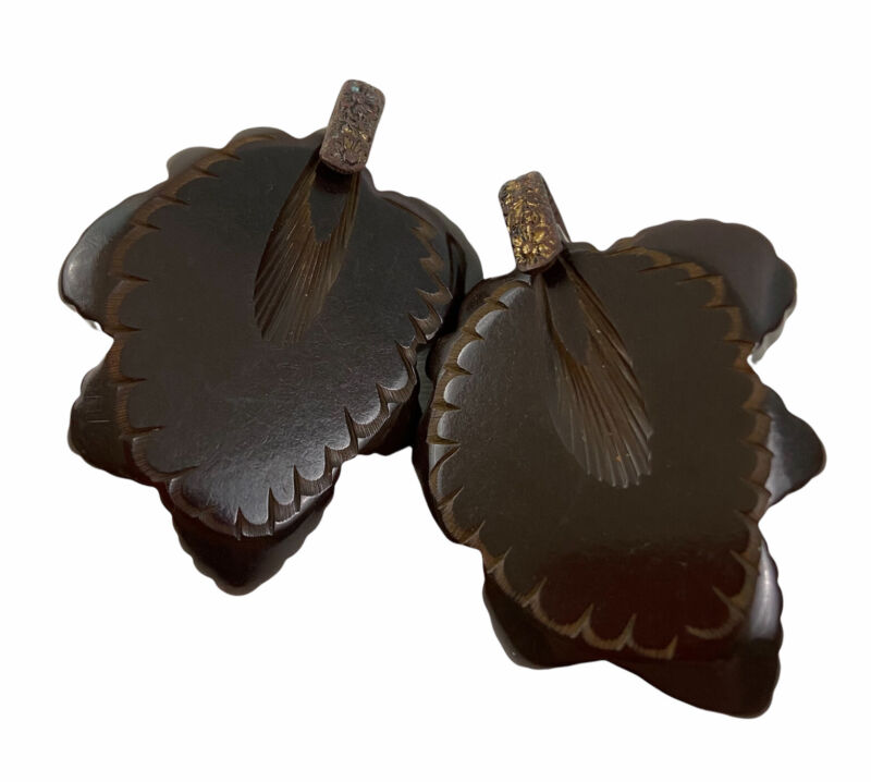 Vintage Bakelite Cloak Clasp Cape Connecter Dark Brown Carved