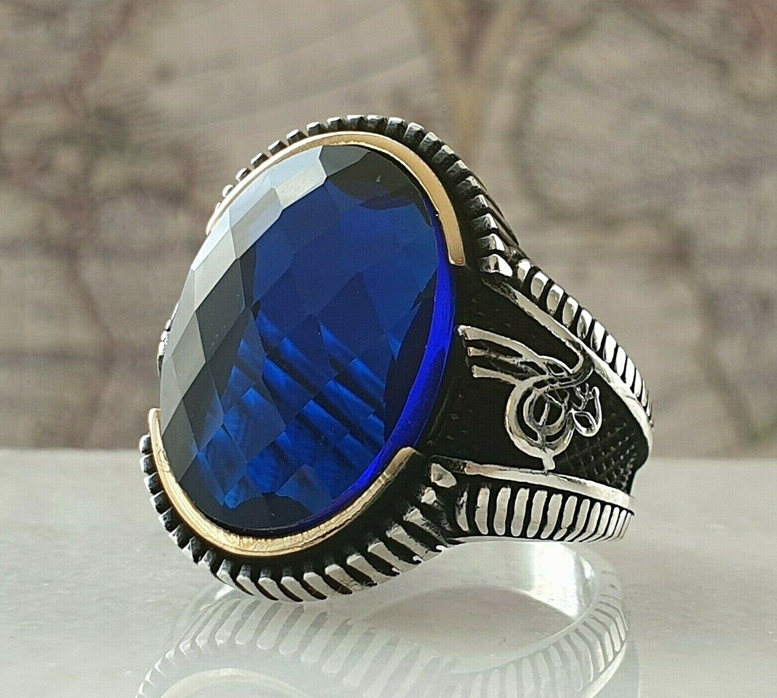 Turquie Ottoman Blue Saphir Gemme 925 Sterling Argent Mens Bague Gemme