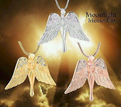 New Angel Wings Crystal Cremation Urn Keepsake Ashes Memorial Necklace Memorial Angel Urn