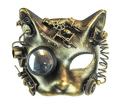 - Steampunk Cat  Mask Goggles Punk Goth Rave Cyber Burning man