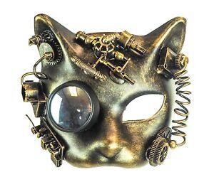 Steampunk Cat  Mask Goggles Punk Goth Rave Cyber Burning man