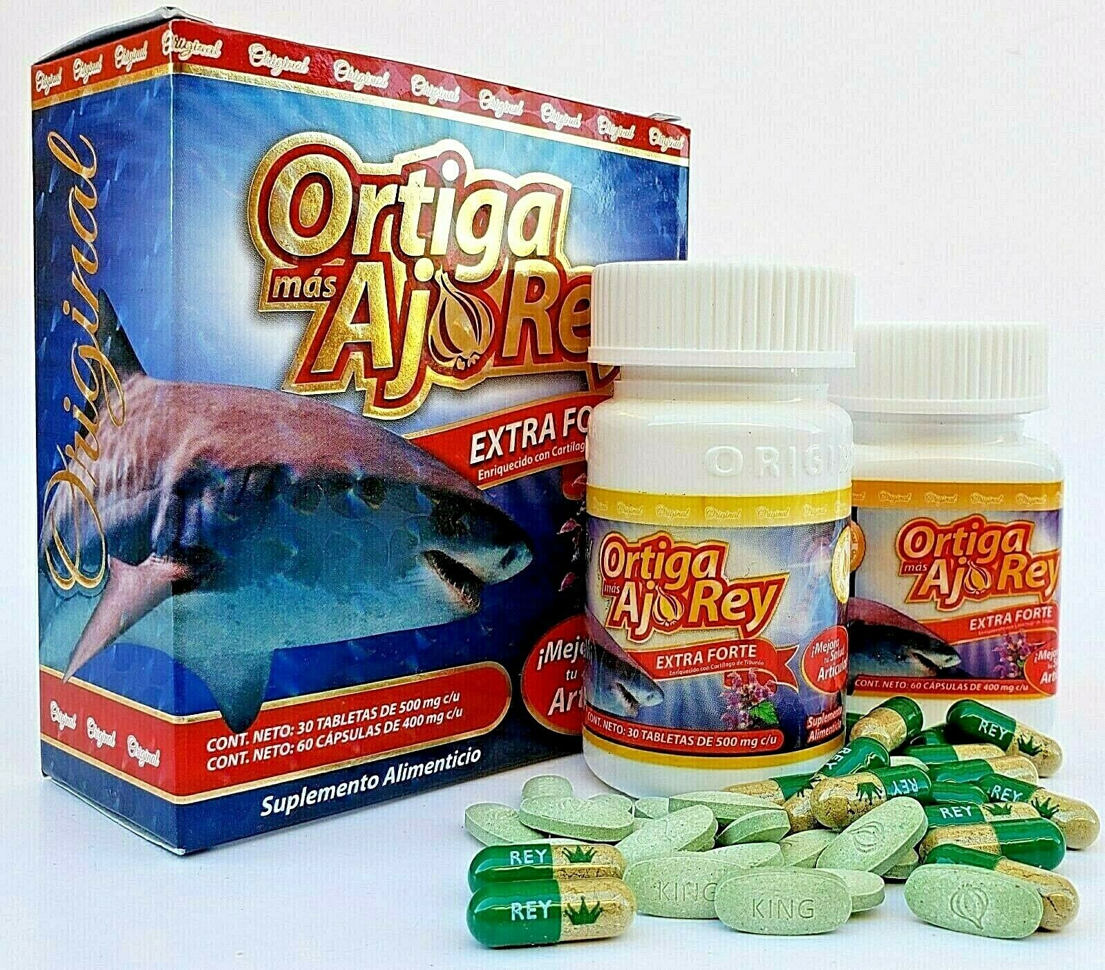 ORTIGA Mas AJO REY Extra Forte SHARK CARTILAGE Cartilago Glucosamin Omega 3 MSM