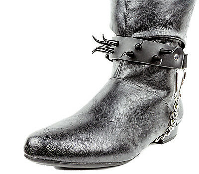 LEATHER BOOTSTRAP SPIKES BIKER MOTORCYCLE BOOTS METAL ROCKER PUNK PIRATE COWBOY Clothing, Shoes & Accessories