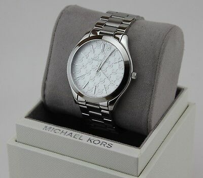 NEW AUTHENTIC MICHAEL KORS SLIM RUNWAY SILVER MONOGRAM MK WOMEN'S MK3371 WATCH