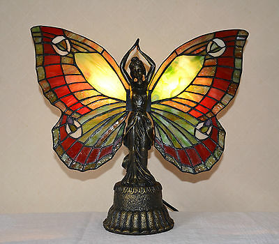 Stained Glass Handcrafted Butterfly Deco Girl Night Light Table Desk Lamp. - Butterfly Stained Glass Table Lamp