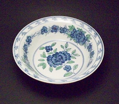"""Hand Painted Serving Bowl - Blue Flowers  - 9"""""""