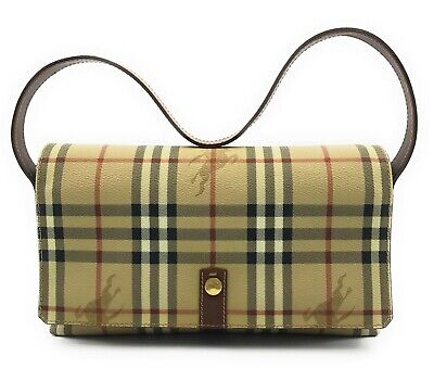 Authentic Burberry London Plaid PVC Shoulder Hand Bag Beige Brown Gold Italy