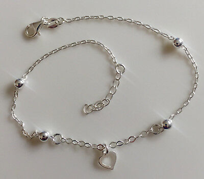 Sterling Silver 925 Heart Beaded Ball Anklet Bracelet Chain Adjustable, G0332