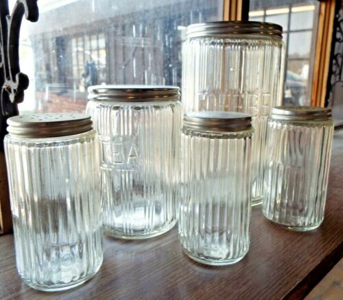5 Old Striped Clear Glass HOOSIER CABINET JARS Canisters Coffee Tea Shakers