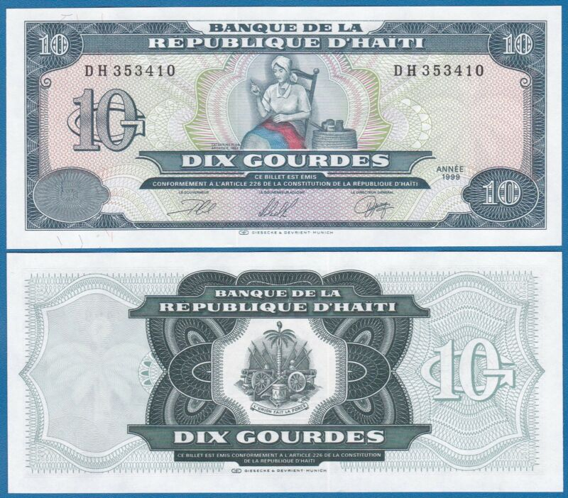 Haiti 10 Gourdes 1999 P 256 UNC Low Shipping! Combine FREE! 256