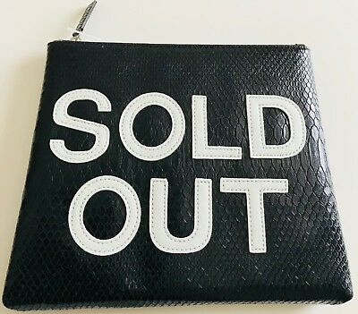 """'SOLD OUT' BLACK POUCH/ CLUTCH BAG BY IPHORIA 8"""" x 7"""" FAUX SNAKE, ZIP POCKET"""