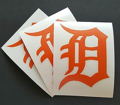 3X Detroit Tigers Logo Car Window 4  Orange Die Cut Vinyl Decal Sticker
