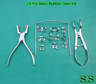 14 Pcs Basic Rubber Dam Kit Dental Surgical Instruments Set Dn-473