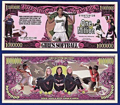 2-Girls Softball Dollar Bills -Baseball Bat Novelty Collectible Fake Money B2