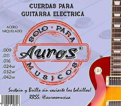 Juego de Cuerdas AUROS para Guitarra Electrica Calibre 09/42