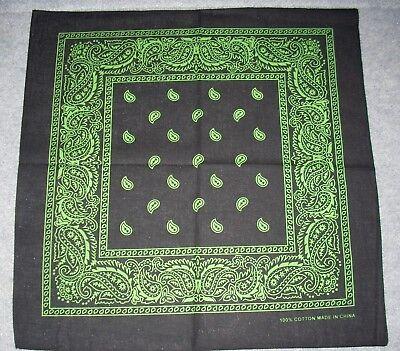 New Unisex 100% Cotton Bandana/Head Wrap/Scarf, Black/Green Paisley - Green Bandanna
