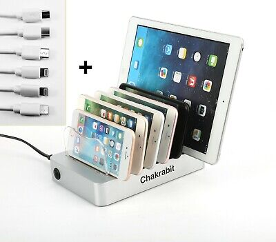 Chakrabit Fast Charging 6 USB Ports Charging Station Dock Stand Holder