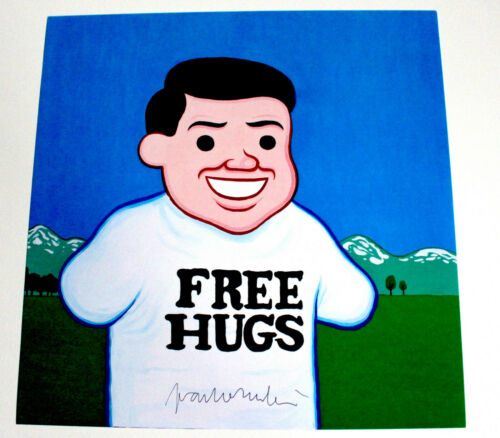 JOAN CORNELLA SIGNED AUTHENTIC FREE HUGS 12X12 POSTER FLAT PRINT RARE ART PRINT