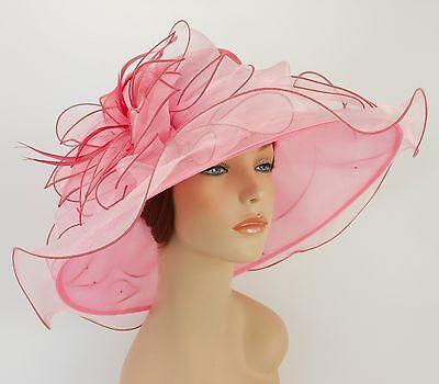 New Church Kentucky Derby Wedding Organza Wave Ascot Dress Hat 2867 Pink