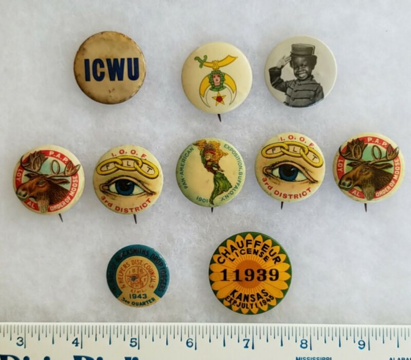 Antique Pin Buttons Odd Fellows License Union Mouse Lodge Shriners