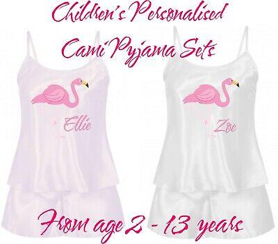 Personalisiert Kinder Cami Pyjama Shorts Nachtwäsche Set in 2 Farben Flamingo