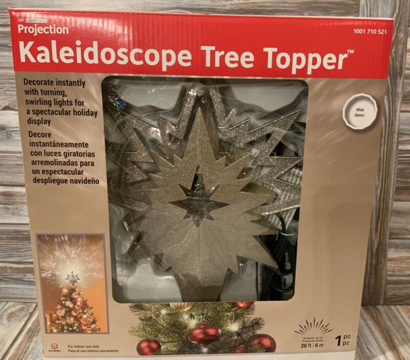 GEMMY CHRISTMAS PROJECTION KALEIDOSCOPE LED LIGHT SHOW TREE TOPPER White