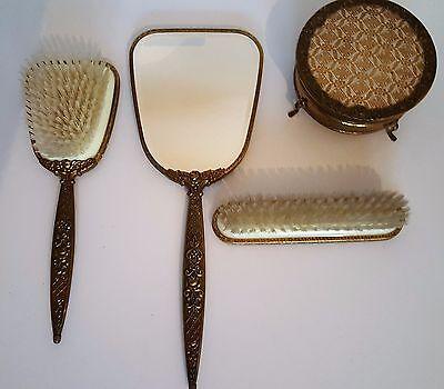 Frisierset Pelon Messing Spiegel Haarbürste Kleiderbürste Dose 4 Teilig 50-60er