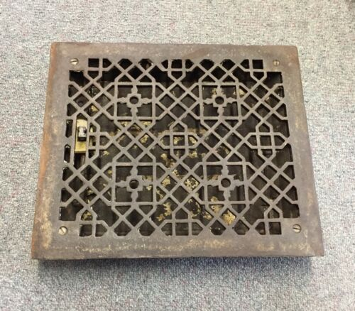 ANTIQUE Victorian Floor GRILLE CAST IRON 12x10 + LOUVERS Grate HEAT REGISTER