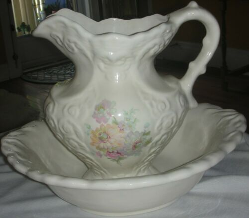 Antique Ironstone Rhine Pottery Large Creamy Ivory Floral Pitcher & Wash Basin
