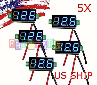 5pcs Mini Blue Dc 0-30v Led Panel Voltmeter 3-digital Display Voltage Meter