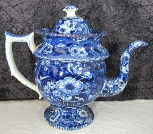 Antique Staffordshire Dark Blue Transferware Basket of Flowers Coffee Pot