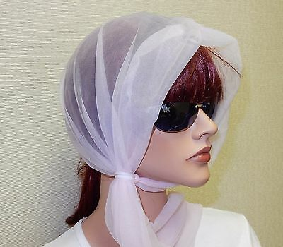 Pink Transparent Ring - 6 Pink Sheer Wind Scarf Bonnets w/Fastening Rings, One Size Fits All, 100% Nylon