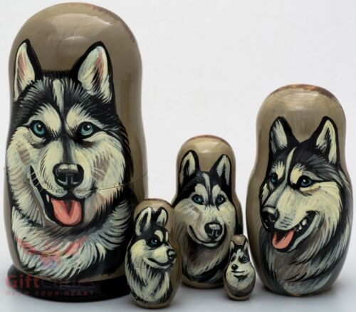 Russian Matryoshka Siberian Husky Dog Wooden nesting dolls toy hand painted 5pcs