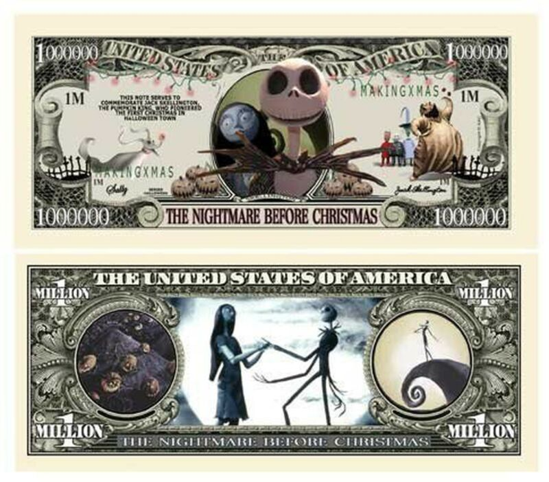 Pack of 25 - Nightmare Before Christmas Jack Skellington Novelty Dollar Bill