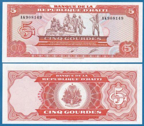 Haiti 5 Gourdes 1989 P 255 UNC Low Shipping! Combine FREE!  255a
