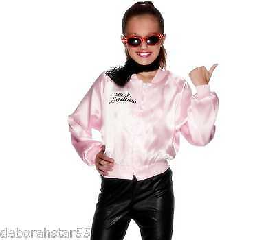Girls Pink Ladies Jacket Grease Lightning Pink Jacket Smiffys Official Licenced